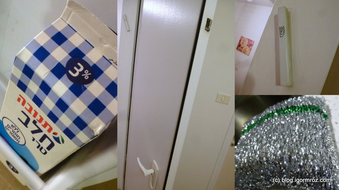 Izraelska mezuza, drzwi, gąbka i mleko
